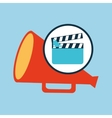 concept cinema clapper and megaphone icon desgin vector image vector image