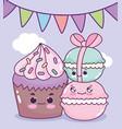 cute food cupcake and macaroons sweet dessert vector image