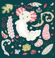 cute kawaii axolotl baamphibian drawing summer vector image
