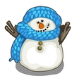 Cute smiling snowman in blue scarf and hat vector image vector image