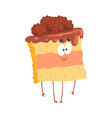 cute sweet cake character with chocolate cream vector image vector image