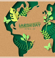 earth day green paper cut leaf world map card vector image vector image