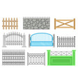 fences of different structures and materials set vector image