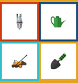 flat icon dacha set of pump lawn mower bailer vector image vector image