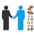 friend meeting icon with dating bonus vector image vector image