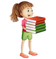 Girl carrying many books vector image vector image