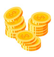 gold coins stacks piles dollars cash round vector image