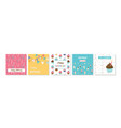 happy birthday greeting card set and party vector image