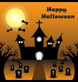 happy halloween - silhouette curved castle under vector image vector image