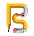 letter b pencil icon cartoon style vector image