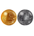 litecoin gold and silver coins vector image vector image