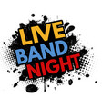 live band night grunge rubber stamp vector image vector image