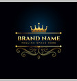 luxury royal logo concept with golden crown vector image vector image