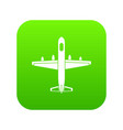 military plane icon digital green vector image vector image