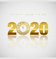 new year greeting card golden clock instead vector image vector image