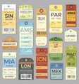old luggage tag or label with flight register vector image vector image