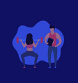 personal trainer and girl doing squat with barbell vector image vector image