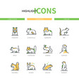 rodents - modern line design style icons set vector image vector image