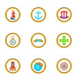 sailor day icons set cartoon style vector image
