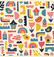scandinavian kids pattern birds rainbows and vector image vector image