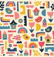 scandinavian kids pattern birds rainbows vector image vector image
