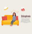 schizophrenia poster girl having hallucinations vector image vector image
