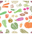 seamless background of of various vegetables vector image