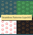 seamless patterns set with hearts background of vector image vector image