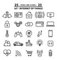 set of 25 thin line icons about internet of things vector image