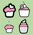 Set of four colored cakes vector image vector image