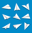 set paper planes isolated on blue background vector image vector image