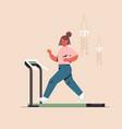 sportswoman running on treadmill girl having vector image