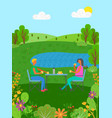 summer vacation people eating lake vector image vector image
