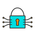 tech circuit lock line icon minimal pictogram vector image vector image