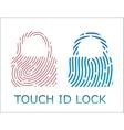 touch fingerprint id lock app vector image vector image