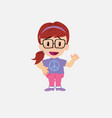 white girl with glasses waving happy vector image