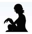 woman silhouette with hand gesture reminding time vector image