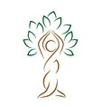 Yoga emblem with abstract tree pose isolated on vector image