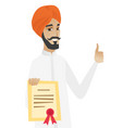 young hindu businessman holding a certificate vector image vector image
