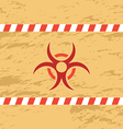 Retro red biohazard on yellow background vector image