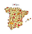 spain map made from design elements sketch design vector image