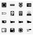 Computer components icons vector image