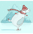 bear ice skating in winter vector image vector image