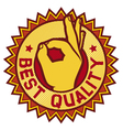 best quality symbol - man hand showing OK vector image vector image