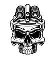 black and white of vape skull vector image