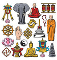 buddhism religion isolated symbols vector image vector image