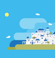 cartoon santorini island village landscape vector image vector image