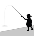 child fishing black vector image vector image