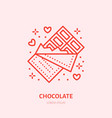 chocolate bar sweets flat line icon vector image vector image