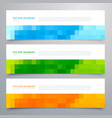 colorful mosaic banners set of three vector image vector image